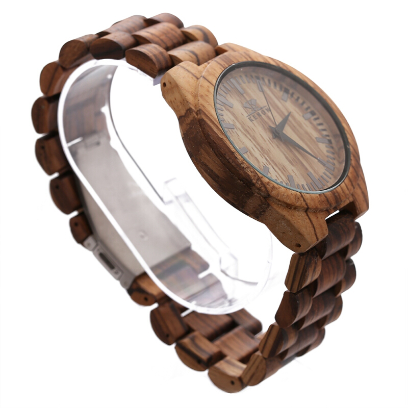 K KENON Male Quartz Watch Wooden Case Band Japan Movt Men Wristwatch