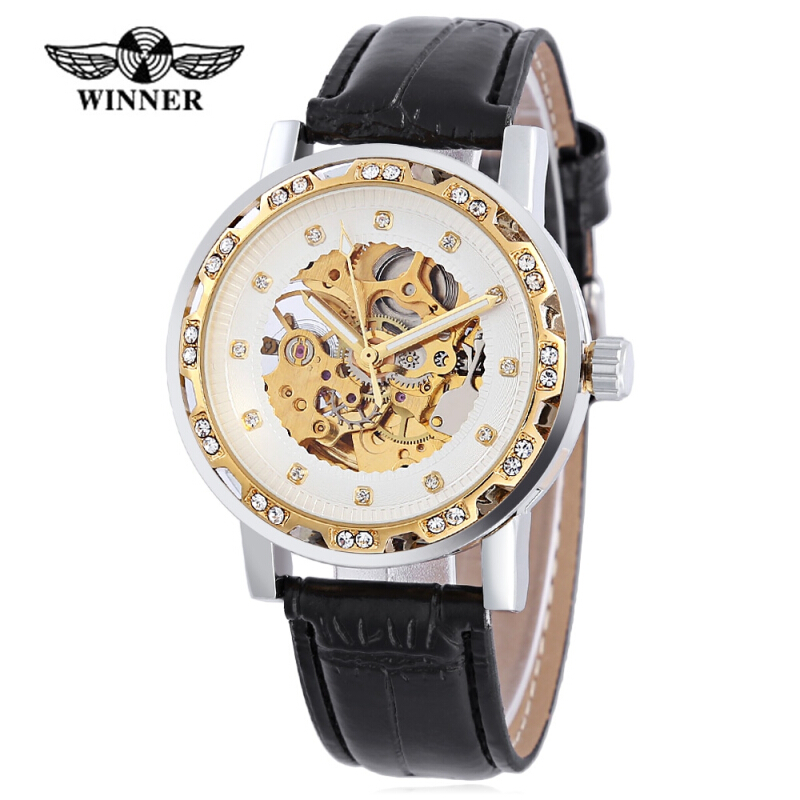 WINNER W138 Male Auto Mechanical Watch Luminous Leather Strap Artificial Diamond Dial Wristwatch