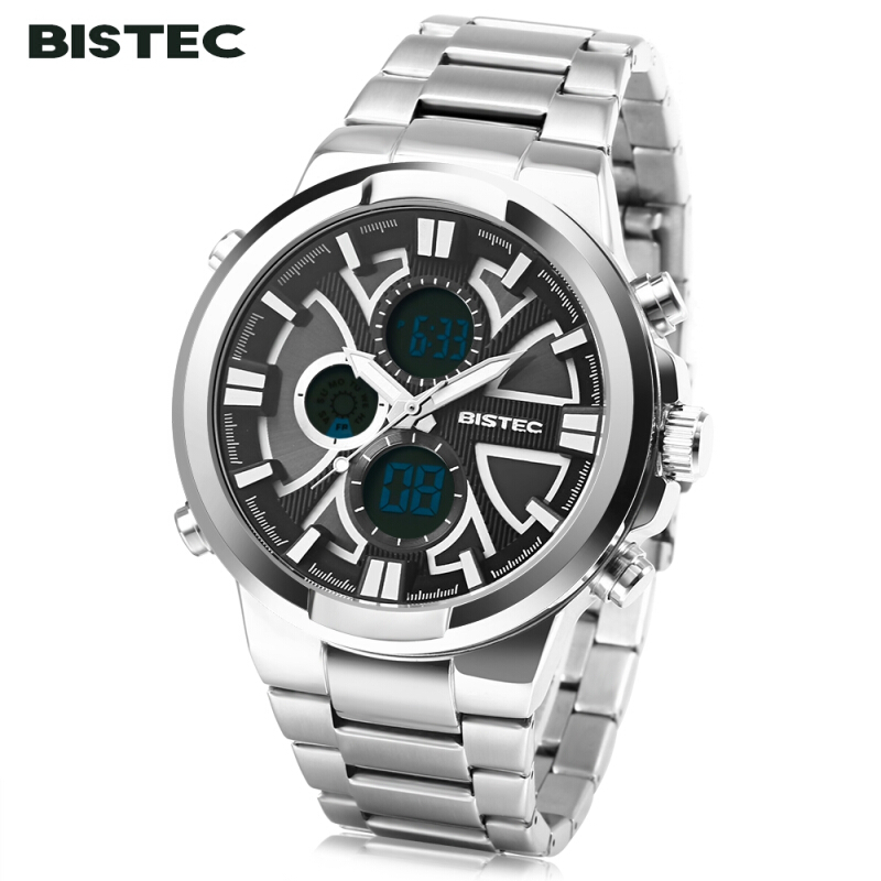 BISTEC 208 Men Dual Movt Digital Quartz Sport Watch Calendar Chronograph LED Male Wristwatch