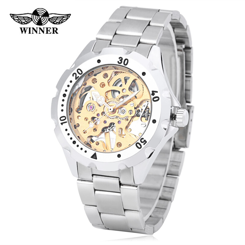 Winner 1082 Male Auto Mechanical Watch Visible Dial Luminous Men Wristwatch