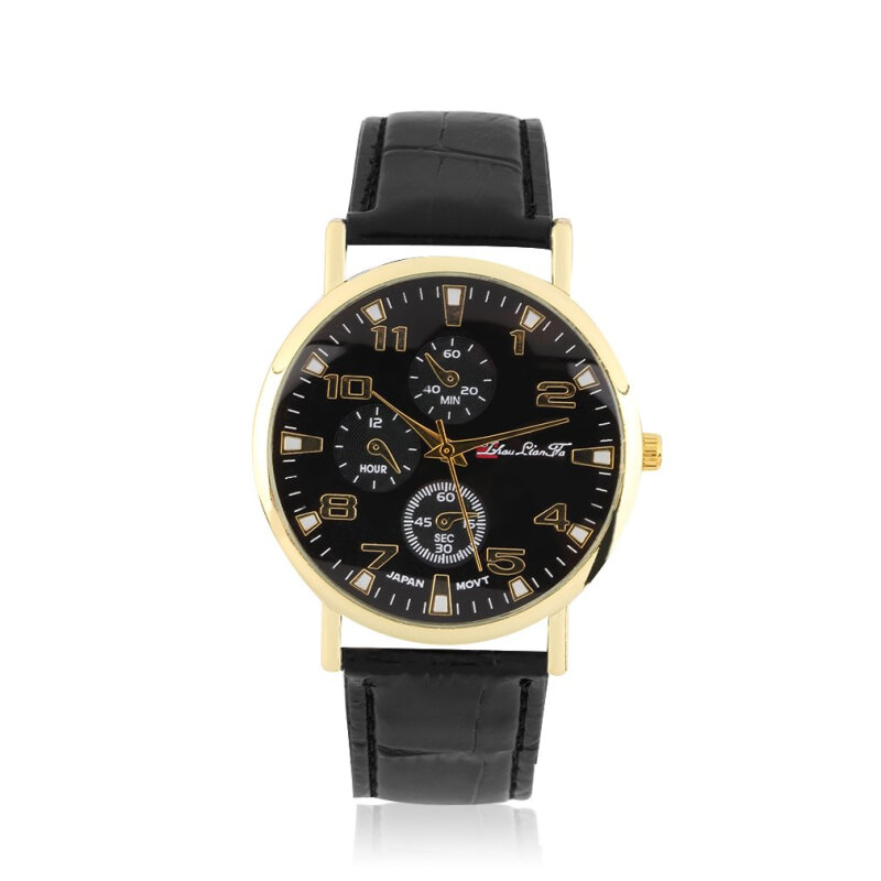 [Kingstore]Waterproof Fashionable Casual Watch Numbers Leather Strap Wristwatch