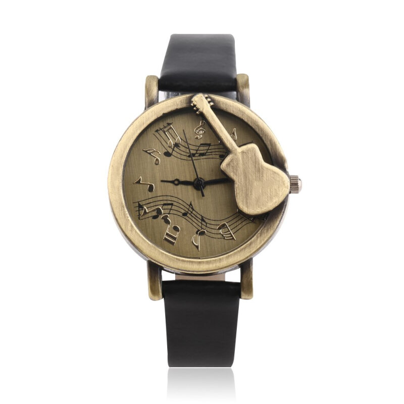 Vintage Unique Design Guitar Analog Quartz Watch PU Leather Retro Gift