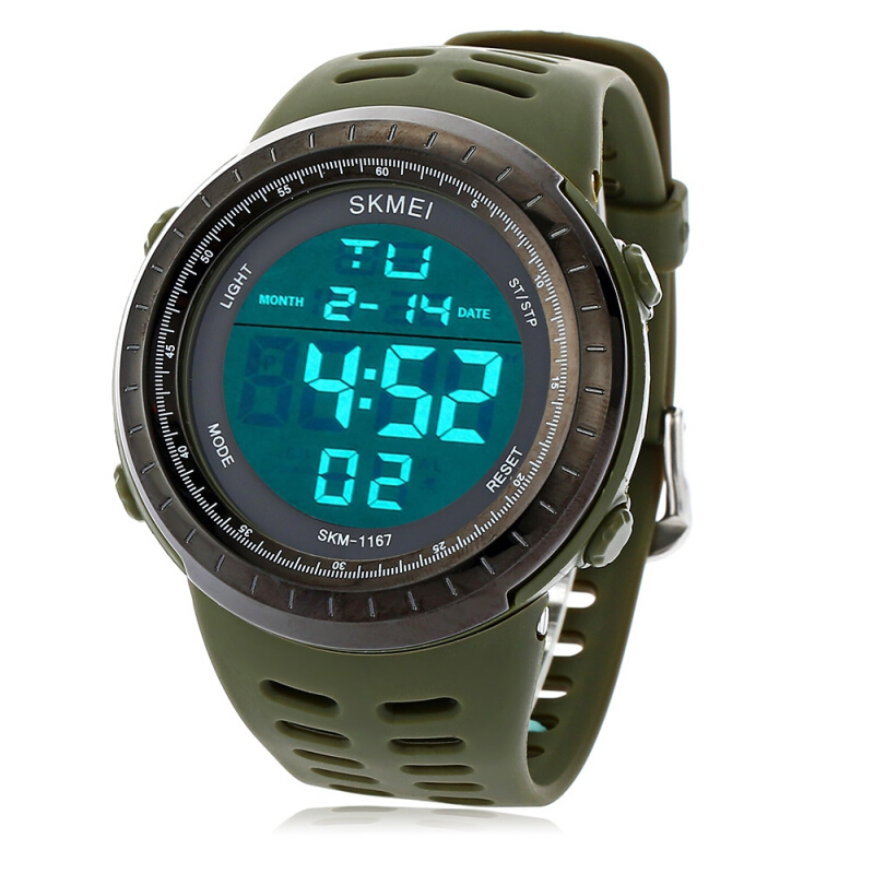 SKMEI 1167 Men LED Digital Sport Watch Big Round Dial 50M Water Resistance Alarm Luminous Date Display Rubber Band Wristwatch