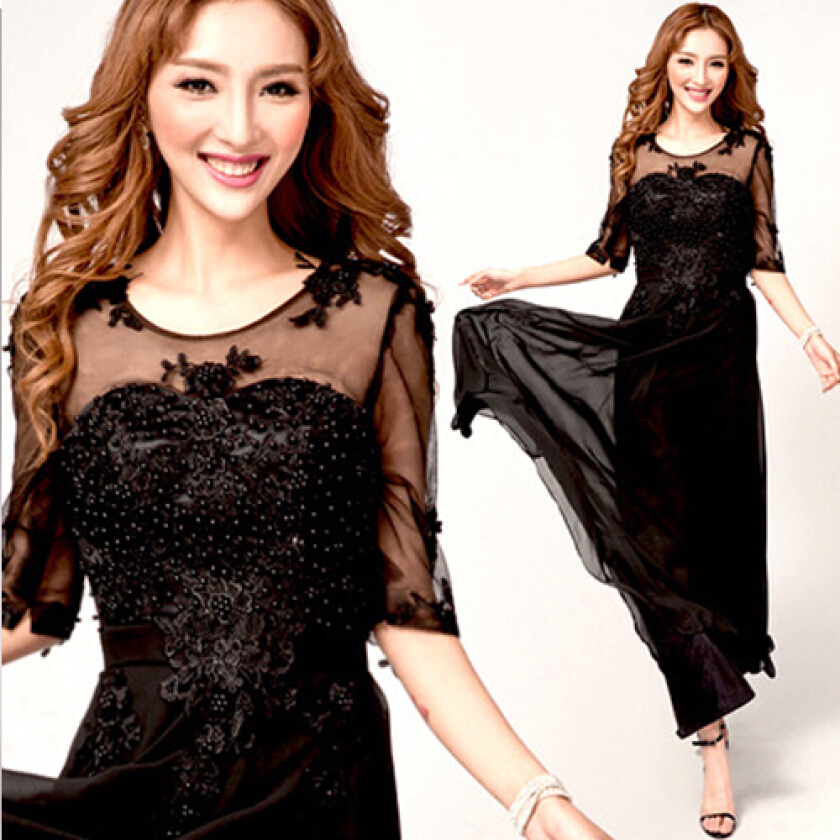 Women's Sweet Black O-Neck Solid ChiffonChiffon Floor-Length Evening Dress