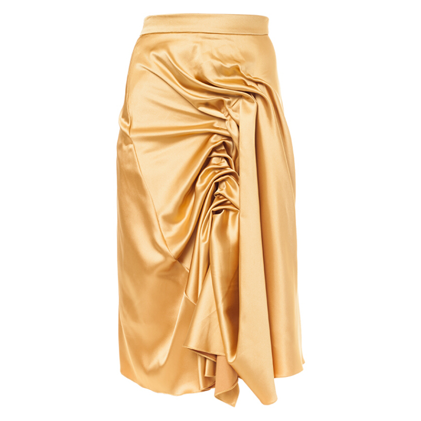 MAZUKI Pleated Front Evening Skirt - Gold [S] - Clay Skirt [WS21]