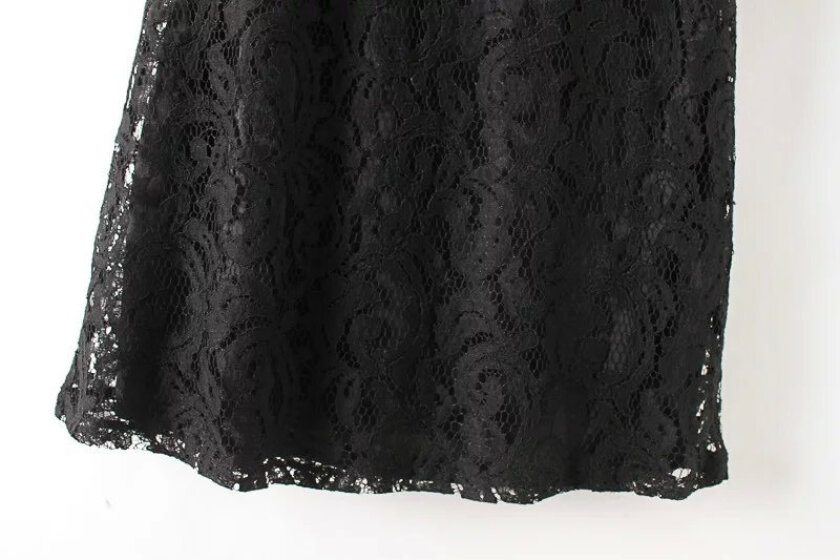 Women's Sexy Black Peter Pan Collar Solid Lace Above Knee Short Sleeve A-Line Dress