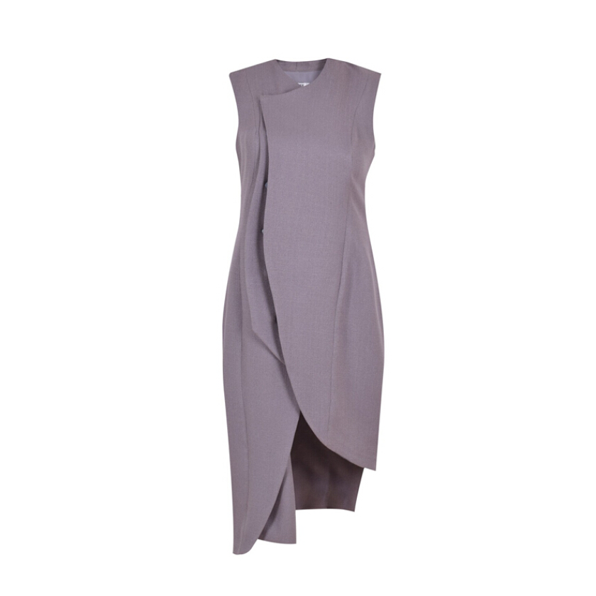 VIVIAN LEE Perspective Veer Dress Grey [S]