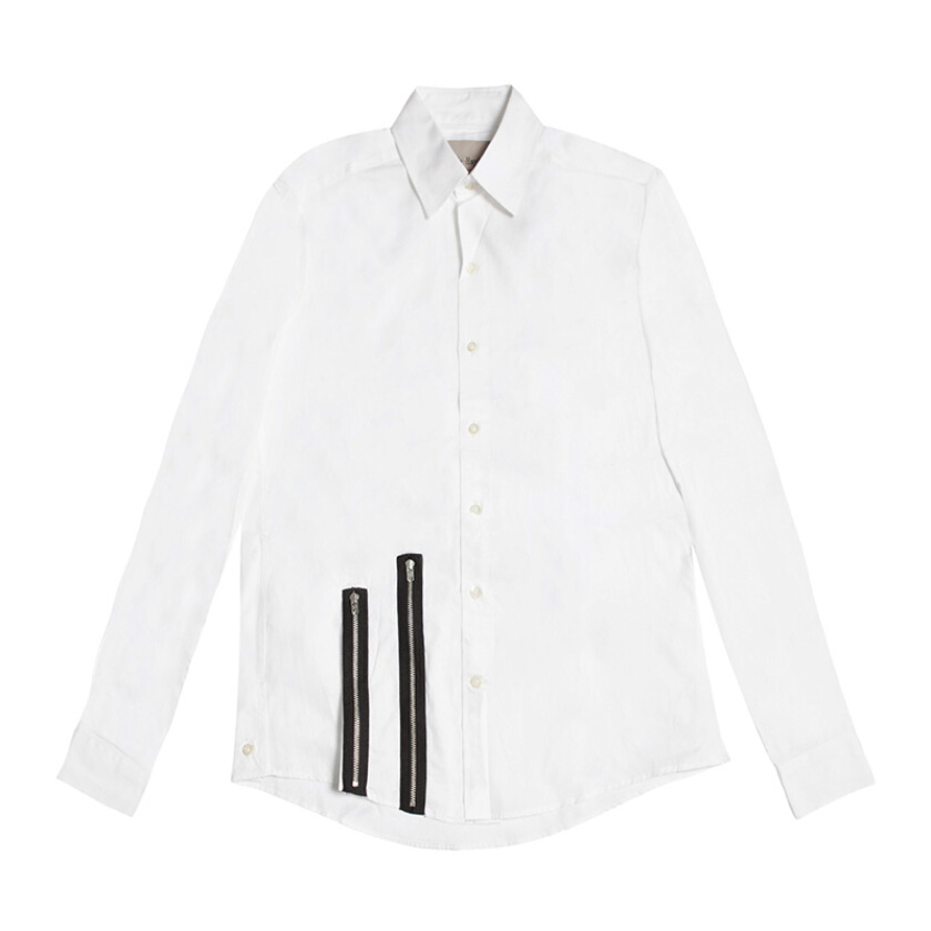 CASELY-HAYFORD Classic Shirt With Double Zip - White XS [CH-SS15/35B-WHT-XS]